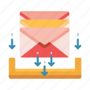 envelope, hold, holding, inbox, mail, mailbox, stack icon