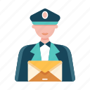 delivery, mail, mailman, occupation, postman, profession, service icon