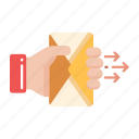 correspondence, email, mail, postal, send, sender icon