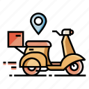 box, delivery, express, parcel, postman, scooter, service