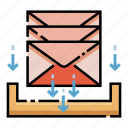 envelope, hold, holding, inbox, mail, mailbox, stack