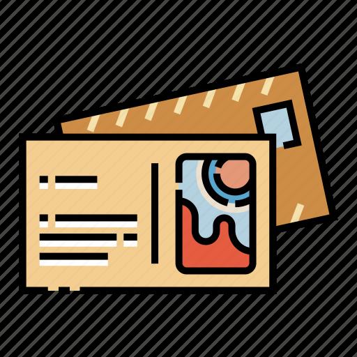 greeting, letter, mail, postal, postcard, travel, vintage icon