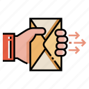 correspondence, email, mail, postal, send, sender icon