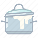 boil, cooking, foam, kitchen, lid, pot, yumminky icon