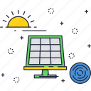 eco, energy, panel, power, renewable, solar, sun icon