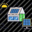 energy, house, panel, power, renewable, solar, sun icon