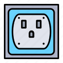current, electrical, electricity, outlet, tools icon
