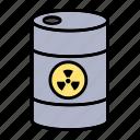 barrel, nuclear, radioactive, waste icon