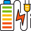 battery, charging, electricity, energy, full, power, socket icon