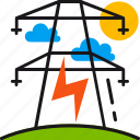 electric, electricity, energy, light, lightning, power, power lines icon