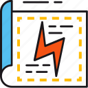 development, document, energy, lightning, paper, permission, research icon