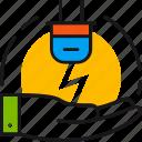 ecology, electricity, energy, hand, protect, saving, socket icon