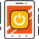 app, controller, mobile, on, power, smart house, smartphone icon