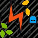 energy, green, leaves, lightning, power, renewable, socket icon