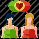 conversation, pregnancy, talk, woman, women icon