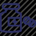 capsule container, medicine bottle, medicine jar, pharmaceutical drug, tablet bottle icon