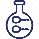 fertility test, genetic research, reproduction test, sperm test, sperms in flask icon