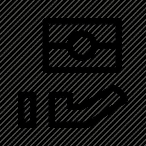 cash, earn, hand, money, note, revenue icon