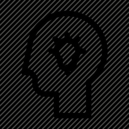 brain, creativity, head, idea, lamp, think icon