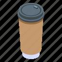 cartoon, coffee, cup, food, isometric, plastic, vintage
