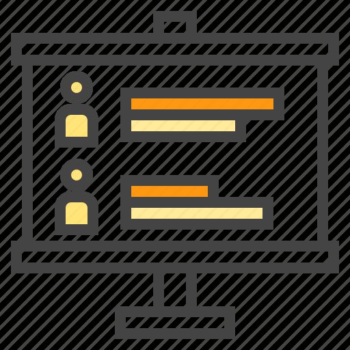business, chart, person, presentaion, profile, statistic icon