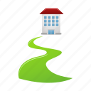 direct, home, house, walkway, way icon