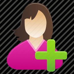 account, add, female, person, profile, user, woman icon