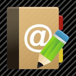 addressbook, edit, notebook, notepad, writing icon