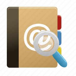 addressbook, find, magnifying, notebook, notepad, search, zoom icon