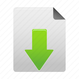 arrow, document, down, download, file, save icon