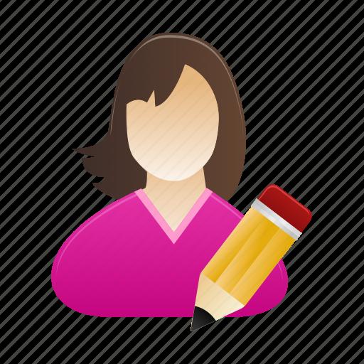 edit, female, lady, person, profile, user, woman icon