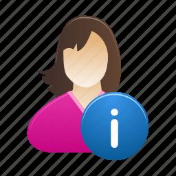 account, female, info, information, profile, user, woman icon
