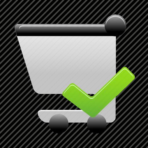 accept, cart, shopping, shopping cart icon