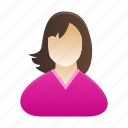 female, girl, lady, person, profile, user, woman icon