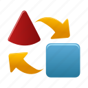 arrows, exchange, export, import, transfer icon
