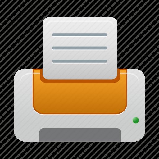 orange, print, printer icon