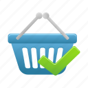 accept, basket, buy, cart, ecommerce, shopping icon