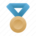 award, badge, blue, bronze, medal, metal, prize icon