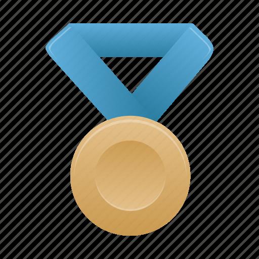 award, badge, blue, bronze, medal, metal, prize icon