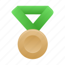 award, badge, bronze, green, medal icon