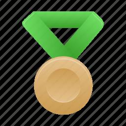 award, badge, bronze, green, medal icon