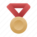 award, badge, bronze, medal, prize, red icon