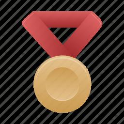 award, badge, bronze, medal, prize, red icon