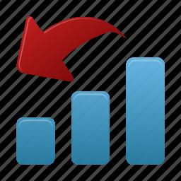analysis, bar, data, decrease, graph, report, statistics icon