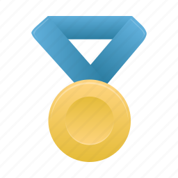 award, badge, blue, gold, medal, metal, prize icon