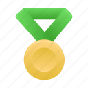 award, badge, gold, green, metal, prize, winner icon