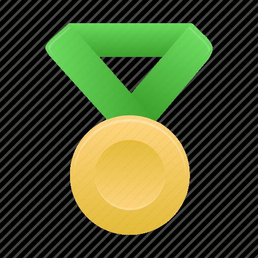award, badge, gold, green, metal, prize, winner icon