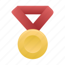 award, gold, metal, prize, red icon