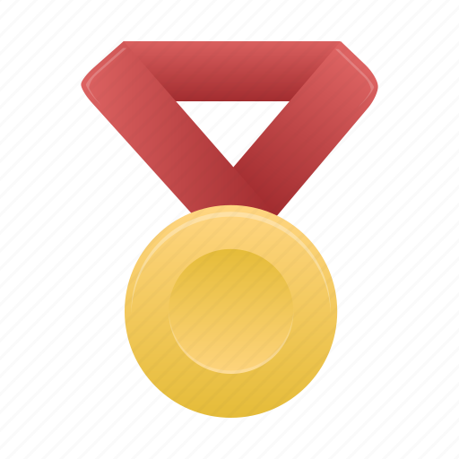 award, gold, metal, prize, red icon