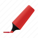 highlightmarker, marker, red, write icon